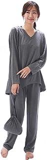NISHIKI[ニシキ] トラベルパジャマ レディース 長袖 巾着付 ストレッチ生地 シワになりにくい おしりが隠れる 上下セット 旅行 出張 ルームウェア 部屋着 かわいい 無地 シンプル