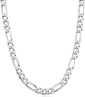 Miabella 925 Sterling Silver Italian 7mm Solid Diamond-Cut Figaro Link Chain Necklace for Men, 18, 20, 22, 24, 26, 30 Inches