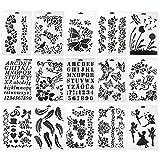 Kit de 15 Pochoirs Lettres/Fleur/Papillon Réutilisable Modèle Patron pour Travaux Manuels Écriture Format A4.