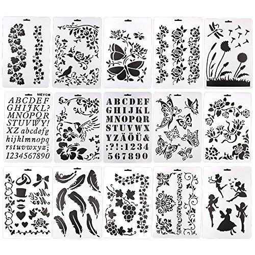 15 Sets Schablonen, Buchstaben/Blumen/Schmetterling, wiederverwendbare Künstlerschablone, DIY-Schreibwerkzeuge, A4