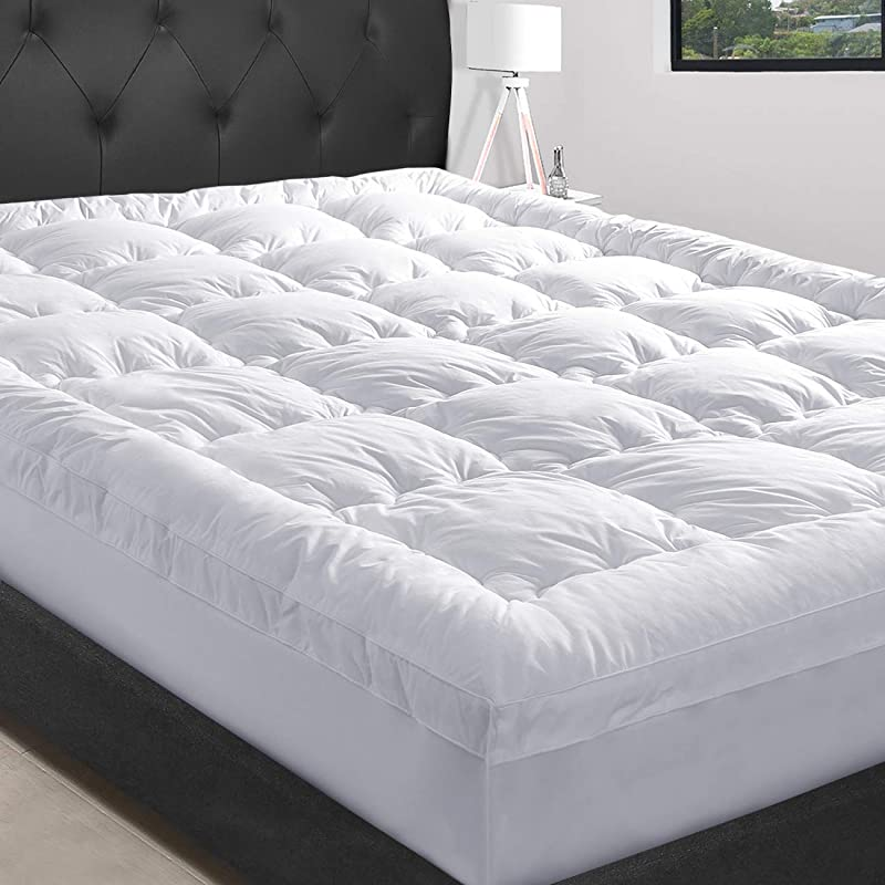 MASVIS Queen Mattress Topper With 8 21 Deep Pocket 2 Thick Double Border Breathable Down Alternative Fiber Mattress Pad Queen White