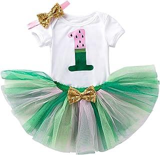 FYMNSI One In A Melon Baby Mädchen 1. Geburtstag Outfit Baumwolle Kurzarm Strampler  Rock/Shorts  Stirnband 3tlg Bekleidungsset Fotoshooting Kostüm