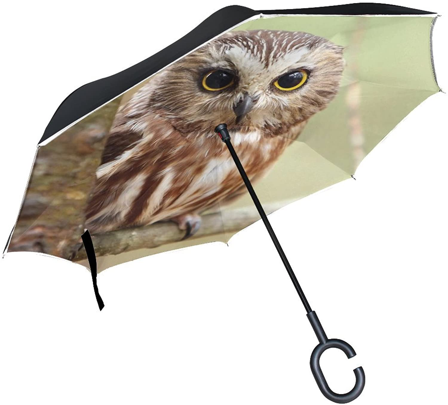 Animal Owl Elf Scenic Nature Landscape Plant Bush Flying Ingreened Umbrella Large Double Layer Outdoor Rain Sun Car Reversible Umbrella