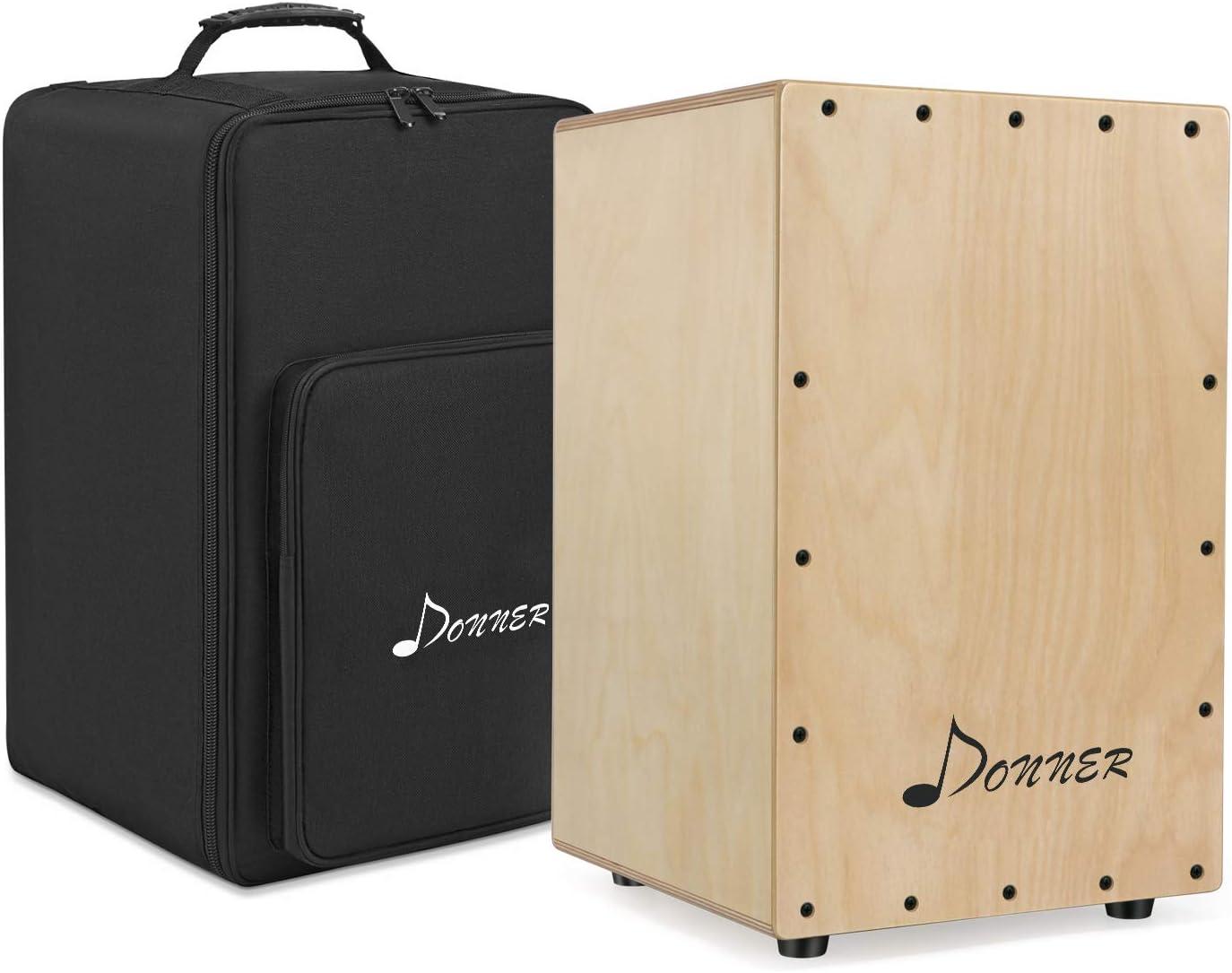 Donner Cajon flamenco adulto, meinl percussion,Tambor Cajón Conjunto de caja compacta de mermelada acústica Cajones de percusión con funda Para niños y adultos principiantes