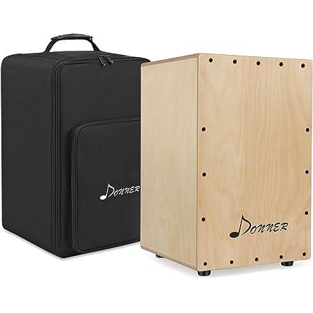 Donner Full Size Cajon Box Drum with Internal Guitar Strings & Cajon Bag, Birchwood Percussion Box Drum Beat Cajon Drum Box with Backpack Dual Adjustable Straps DCD-1