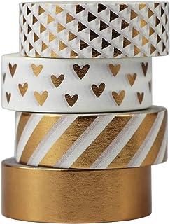 Gouert Lot de 4 rouleaux de ruban adhésif décoratif Washi Design cuivre pour loisirs créatifs scrapbooking papier cadeau