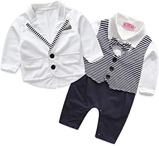 Baby Boy Clothes Gentleman Baby Clothes Long Sleeve Romper with Coat White and Black Clothing Set for Newborn