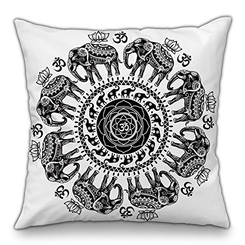 Moyun Black & White Mandala Series Decorative Throw Pillow Case Bohemian Hippie Elephant Cushion Cover Psychedelic Intricate Floral Indian Sofa Bed Decor 18'
