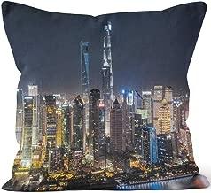 Aerial View of Shanghai at Night Sack Burlap Pillow,HD Printing Square Pillow case,20