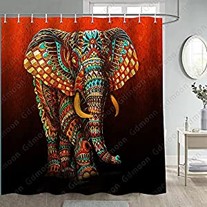Gdmoon Mandala Elephant Shower Curtain Paisley Floral Brown Vibrant Colors Vintage Ethnic Tribal African Wildlife Bohemian Indian Animal Bathroom Shower Curtains Set with12 Hooks 72x72In YLWHGD548