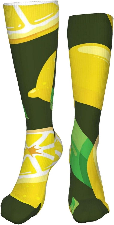 NELife Compression Socks for Women's - Cartoon Lemon Over The Ca