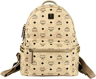 MCM Women's Beige Coated Canvas Medium Studded Backpack MMK7AVE99IG001