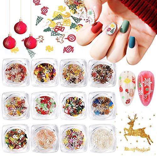 Kalolary 12 scatole paillettes per unghie natalizie fiocchi di neve decalcomanie glitter per nail art, Adesivi natalizi per unghie con paillettes di coriandoli colorati per decorazioni fai da te