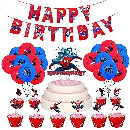 Fiesta de Cumpleaños de Spiderman Globos Pancarta de Fiesta de Spider Man Decoración para Tarta Fiesta de Superhéroes