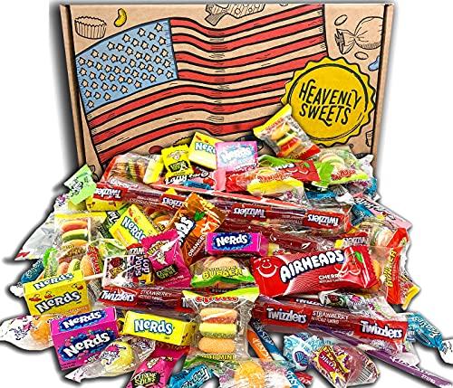 American Candy Amerikanische Süßigkeiten Feier Geschenkbox. 120 Stück! Klassische USA Candies Airheads, Laffy-Taffy, Twizzler, Nerds, Jolly Ranchers! Ideale Halloween-Süßigkeiten! 30x20x5cm Paket