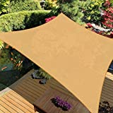 iCOVER Sun Shade Sail Canopy, 185GSM Fabric Permeable Pergolas Top Cover, for Outdoor Patio Lawn Garden Backyard Awning, 12'x12', Sand