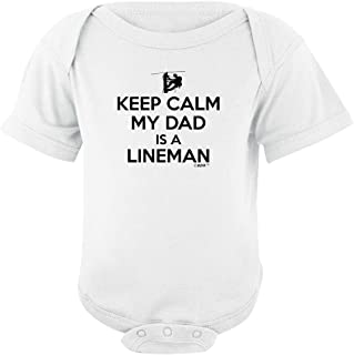 Baby Gifts For All Keep Calm My Dad is a Lineman Bodysuit