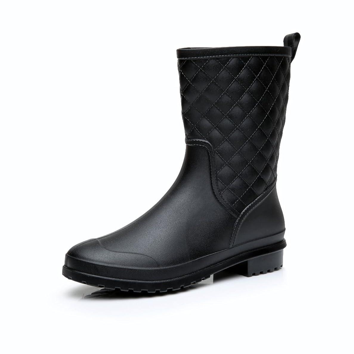 シートスピーチ名前を作る[Fine Too] 長靴 レディース レインブーツ 雨靴 おしゃれ 防水 ロング レインシューズ 軽量 防滑 人気 無地 ガールズ ブラック雨靴
