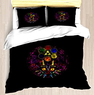 NTCBED Majora's Mask Stained Glass - Duvet Cover Set Soft Comforter Cover Pillowcase Bed Set Unique Printed Floral Pattern Design Duvet Covers Blanket Cover Twin/XL Size