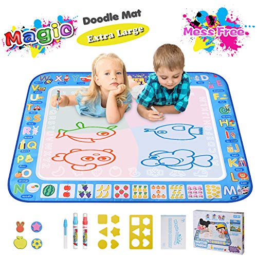 Large Magic Water Drawing Mat 38.5'x29.5' Learning Toys for 2 Year Olds Doodle Mat Painting Mat Toddler Girl Boy Toys Age 2 3 4 5 6 Gift Water Coloring Mat Kids Educational Toys Gift Box 5 Water Pens