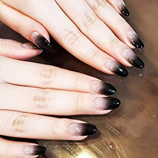 Fstrend Fashion Fake Nails Gradient Black Full cover False Nails Wedding Birthday Prom Party Clip on Nails for Women and Girls