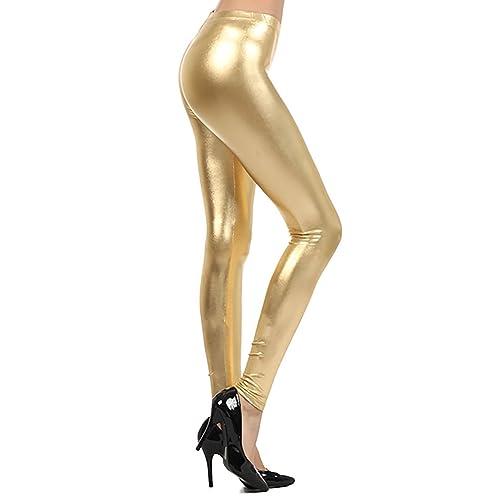Crazy Girls Red Olives/® Womens Ladies Metallic Shiny Glanz Wet Look Leggings S//M-XXL