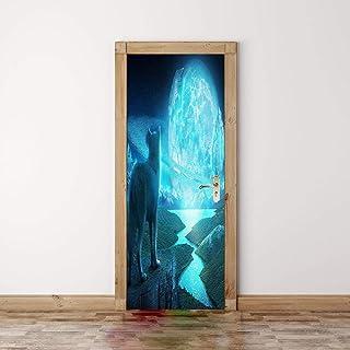 FCFLXJ Autoadhesivo Papel pintado de la puerta Cara de lobo Cartel de la puerta 3D Bricolaje Etiqueta de la puerta Foto Fondo de pantalla HD Imprimir Oficina Inicio Dormitorio Decoracion 80X200CM