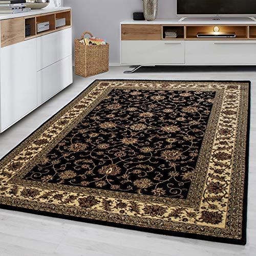 Fabelia Orientalischer Teppich Troja - Klassischer Teppich mit orientalisch-europäischen Designs (200 x 290 cm, Schwarz)