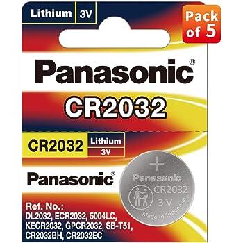 Panasonic CR2032 3 V batería de litio 2 Pack x (5 unidades)=10 pilas de un solo uso: Amazon.es: Bricolaje y herramientas