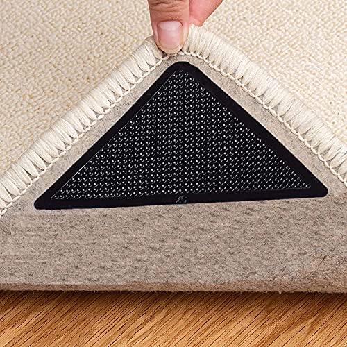 Runmeihe 4 pinzas para alfombras, cinta antideslizante para alfombras de doble cara, reutilizables y lavables