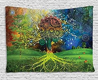 Ambesonne Ethnic Tapestry, Tree in The Valley with Spiral Branch Balance in Mother Earth Art Illustration, Wide Wall Hanging for Bedroom Living Room Dorm, 80