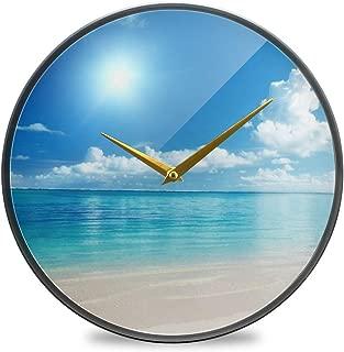 Chovy 掛け時計 サイレント 連続秒針 壁掛け時計 インテリア 置き時計 北欧 おしゃれ かわいい 海 砂浜 自然風景 太陽 部屋装飾 子供部屋 プレゼント