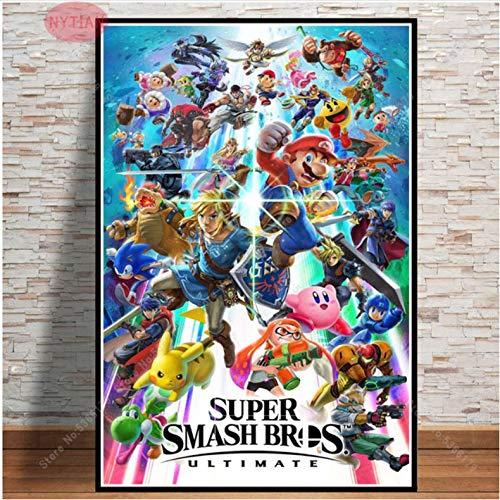 Póster De Regalo Super Mario Super Smash Bros Ultimate Character Print Painting Wall Art Canvas Picture Living Home Room Decor 50 × 70Cm Sin Marco