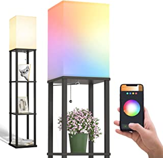 addlon Smart Modern Shelf Floor Lamp with RGB Bulb and White Lamp Shade - Display Floor Lamps with Shelves for Living Roo...