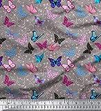 Soimoi 55 GSM imprimé Papillons 42 Pouces de Large Viscose en Mousseline de Soie Dressmaking Tissu au mètre - Gris