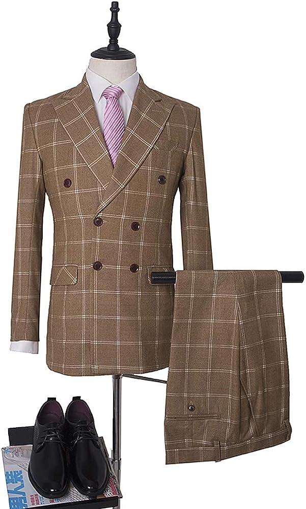 Peak Lapel Double Breasted Navy Blue Plaid Men Slim Fit 3 Pieces Suit Formal Business Suit Wedding Groom Suit