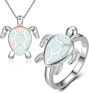 163570204 JunXin Women Sea Turtle Jewelry Set, White Gold Plated Sea Turtle Necklace  Ring for Women
