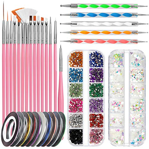 Nail Art Pinsel Set, FANDAMEI 15 Stücke Nagel Pinsel Rosa|5 Stücke Dotting Pen Punktierung Stift|10 Rolle Streifenband Nägel|Strasssteine Nägel|Ultra Dünn Nagel Pailletten für Nagelkunst Maniküre Set