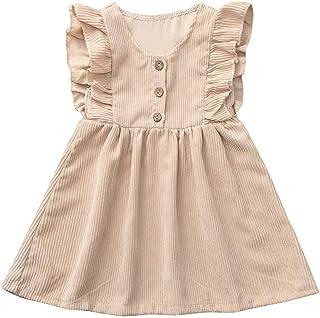 [ポクトロン] 新生児 女の子 夏用 フライングスリーブ 半袖 フリル ストライププリント 素晴らしい 肌触り ストラップ ドレス(コーヒー,90)