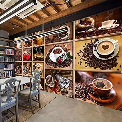 Qwerlp Benutzerdefinierte Wandbild Tapete Kaffeebohnen Kaffeetasse 3D Foto Tapete Cafe Restaurant Wohnzimmer Küche Dekorative Tapete-280X200CM