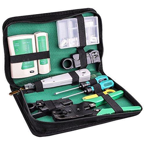 kuman Netzwerk Reparaturwerkzeuge Professionell Netzwerk Werkzeug Set Netzwerk Kabeltester Kit Patchkabel Tester Computer Wartung LAN Kabel Tester P9100