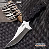 Tactical Knife Survival Knife Hunting Knife Full Tang Fixed Blade Knife Razor Sharp Edge Camping Accessories Camping Gear Survival Kit Survival Gear Tactical Gear 52531 (Trailing Point - Silver)