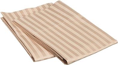 100% Egyptian Cotton 650 Thread Count King 2-Piece Pillowcase Set, Single Ply, Stripe, Beige