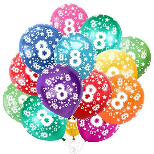 Globo Número 8, Cumpleaños Globos 8 Años, 8 Cumpleaños Decoración Globos Niño,Colores Globos Numeros 8 Fiesta Decoración para Feliz Cumpleaños,30 cm-Paquete de 30