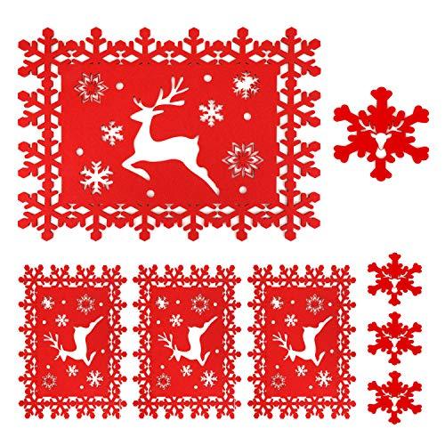 HOWAF 8 Pack Tovagliette e sottobicchieri per la tavola di Natale, Set di Design con Fiocchi di Neve di Renna Rossa per la Festa di Natale Decorazione per la tavola da Pranzo di Natale