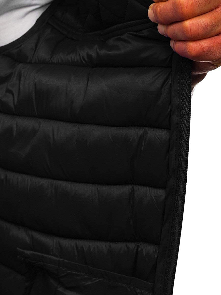 BOLF Mens Quilted Hooded Gilet Outerwear Sleeveless Jacket Vest Bodywarmer Outdoor Casual Sport Style Mix 1U1
