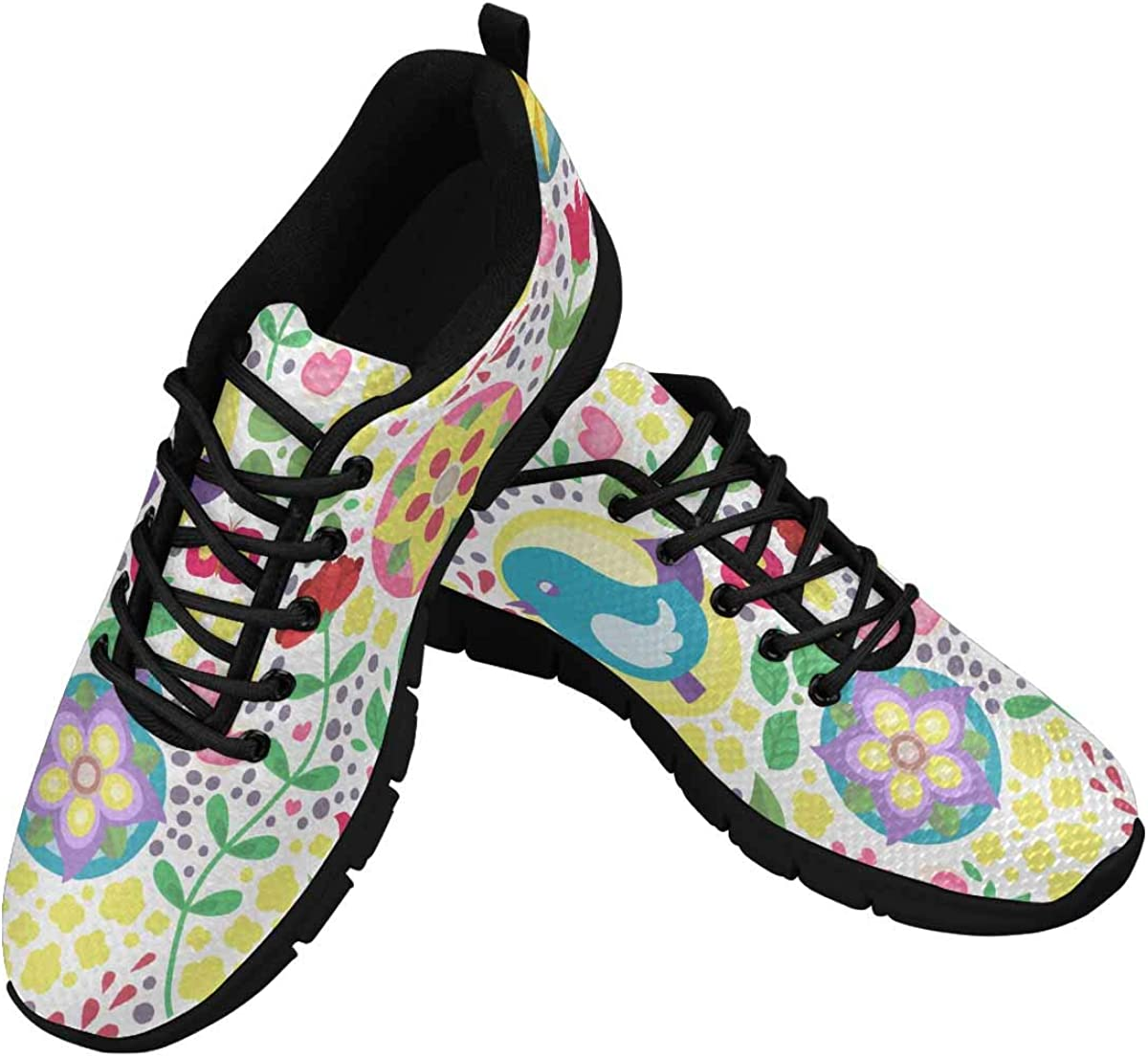 InterestPrint Pattern with Birds and Flowers Women's Athletic Walking Shoes Breathe Comfort Mesh