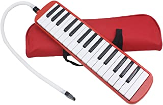 Portable 32 Key Melodica with Blowpipe & Blow Pipe Student Class Harmonica with Bag Toy Gift (Red)