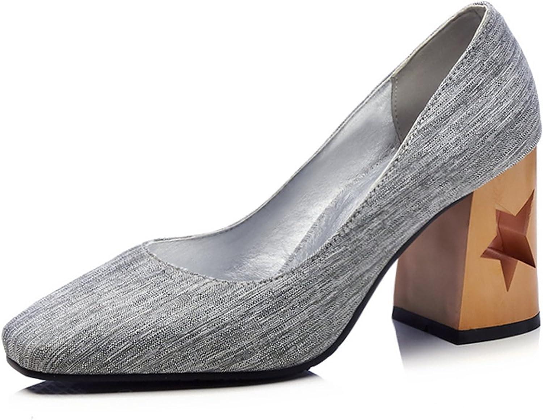 KingRover Women's Elegant Square Toe High Block Heel Slip On Dress Pumps