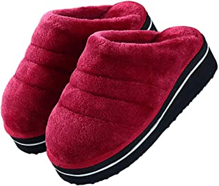 Autumn and Winter Cotton Slippers,for Men and Women Handmade Thick-Slip Non-Slip Home Slippers Indoor Warm Men's Slippers,Burgundy,42/43